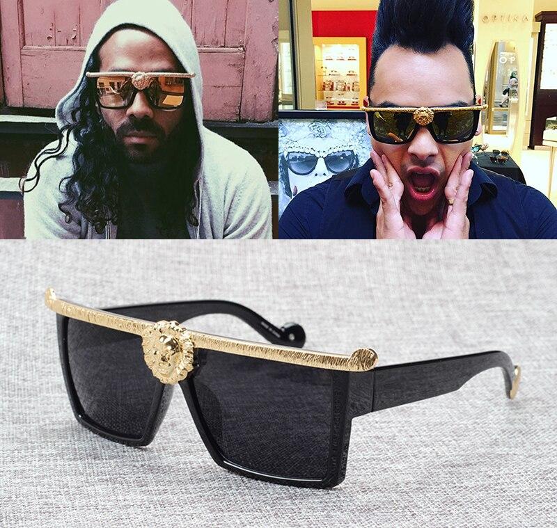 Fashion Square Sunglasses Hip Hop Metal Men Women Side Gradient Vintage Retro