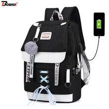 Canvas Usb School Bags for Girls Teenagers Backpack Women Bo