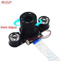 Raspberry Pi 3 B+ Camera IR-CUT 5MP 4mm Focal Adjustable Length Night Vision NoIR Camera for Raspberry Pi 3 Model B+ Zero W
