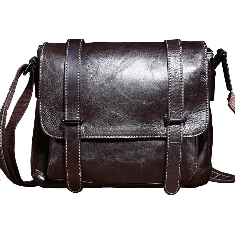 Фотография Vintage Fashion Messenger Bag Unisex Genuine Leather Shoulder Bag Small Satchel Casual Bag Men&Women