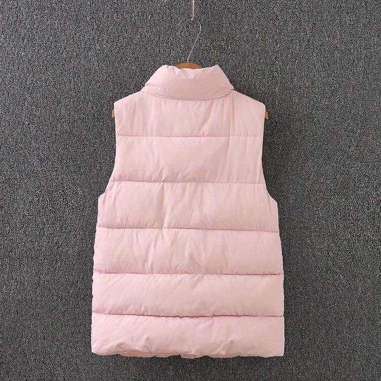 Chauds Sans L'hiver pink Gilets De vent Femelle Gilet Noir Femmes Chaud Rose Manches Pour Taille Plus Manteau 2018 Black Mince Coupe Coton 0w5xzqpz