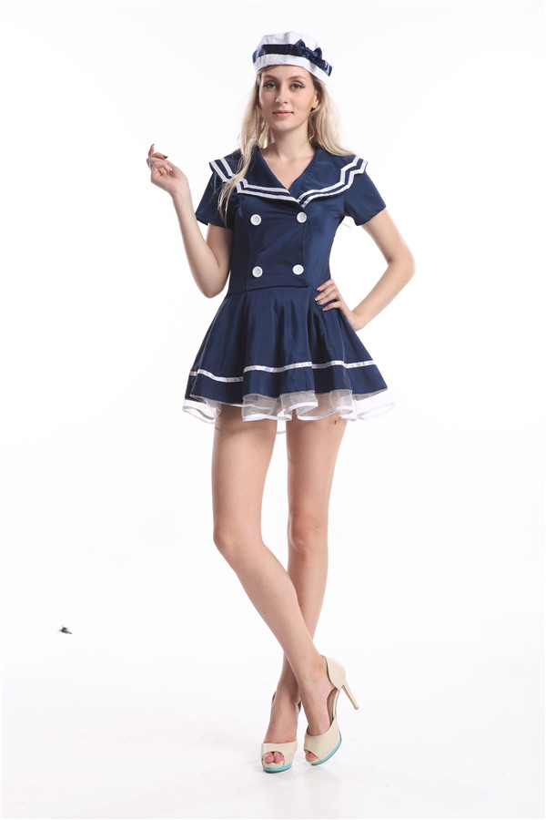 free shipping blue Sailor Girl Outfit Fancy Dress Costume Nautical Outfit with hat S M L XL 2XL
