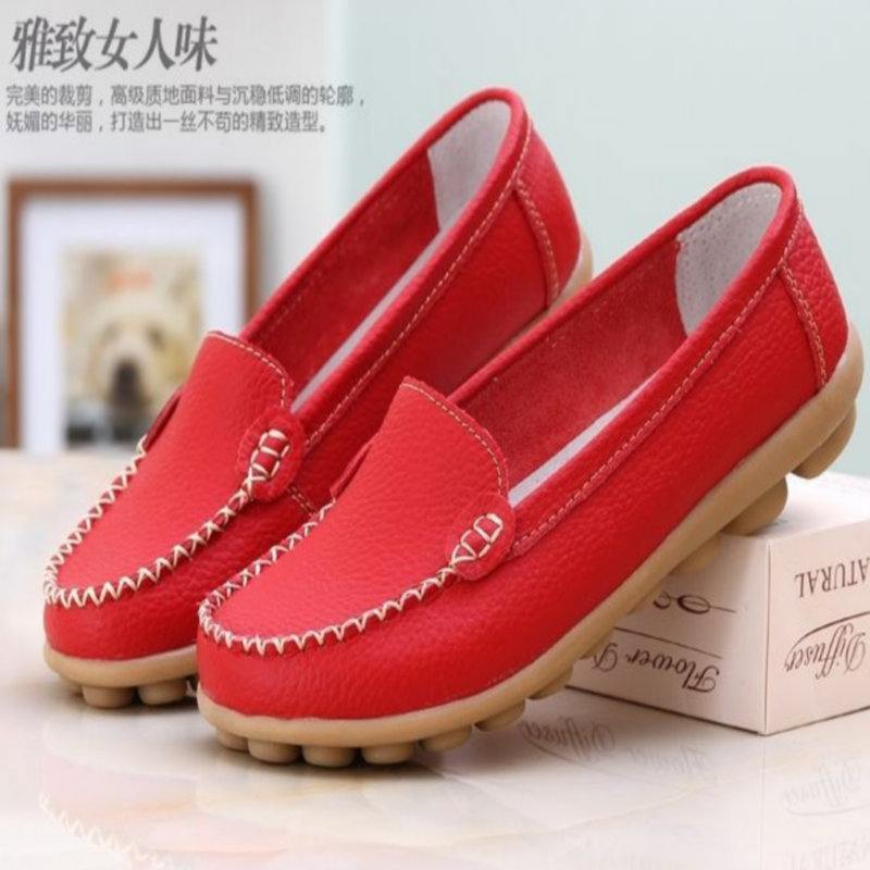 font b Women b font shoes flat shoes Genuine Leather flats big size 34 41