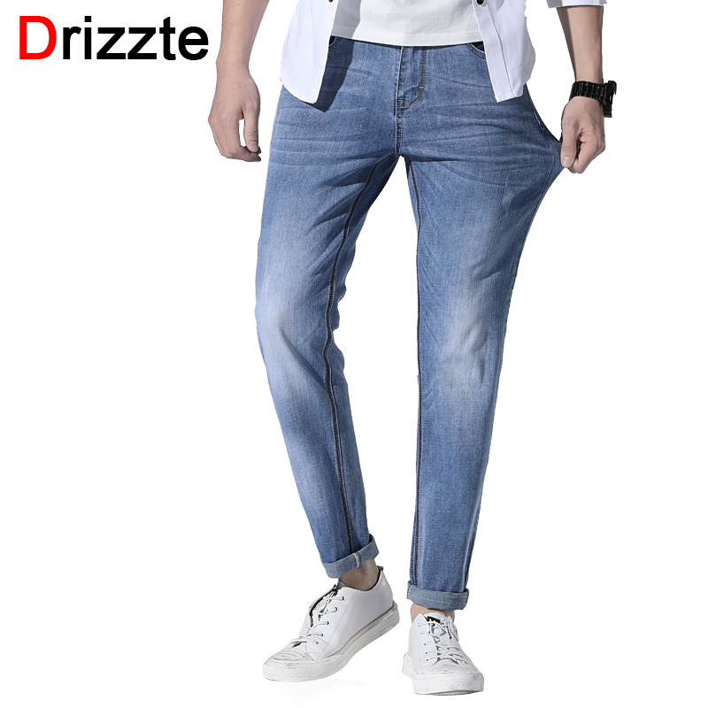 Drizzte Summer Men   Jeans   Straight Fit Light Blue Stretch Comfortable Brand Pants Casual Size 28 to 40 42 44 46