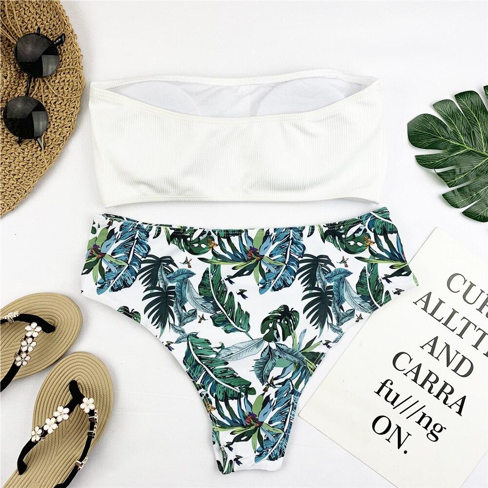 HTB1VOQ9ShTpK1RjSZR0q6zEwXXac Sexy Bandeau Bikini Set Women Floral Print Swimwear Push Up Swimsuit Brazilian Biquini Pink Bikinis Pad Bathing Suit Beachwear