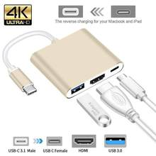 Usb c hdmi tipo c hdmi mac 3.1 conversor adaptador typec para hdmi hdmi/usb 3.0/tipo-c alumínio para apple macbook adaptador(China)