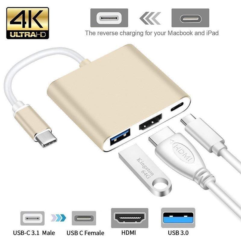 Usb c HDMI Tipo c Hdmi mac 3.1 Typec Adaptador Conversor para hdmi HDMI/USB 3.0/Type- C adaptador de Alumínio Para Apple Macbook