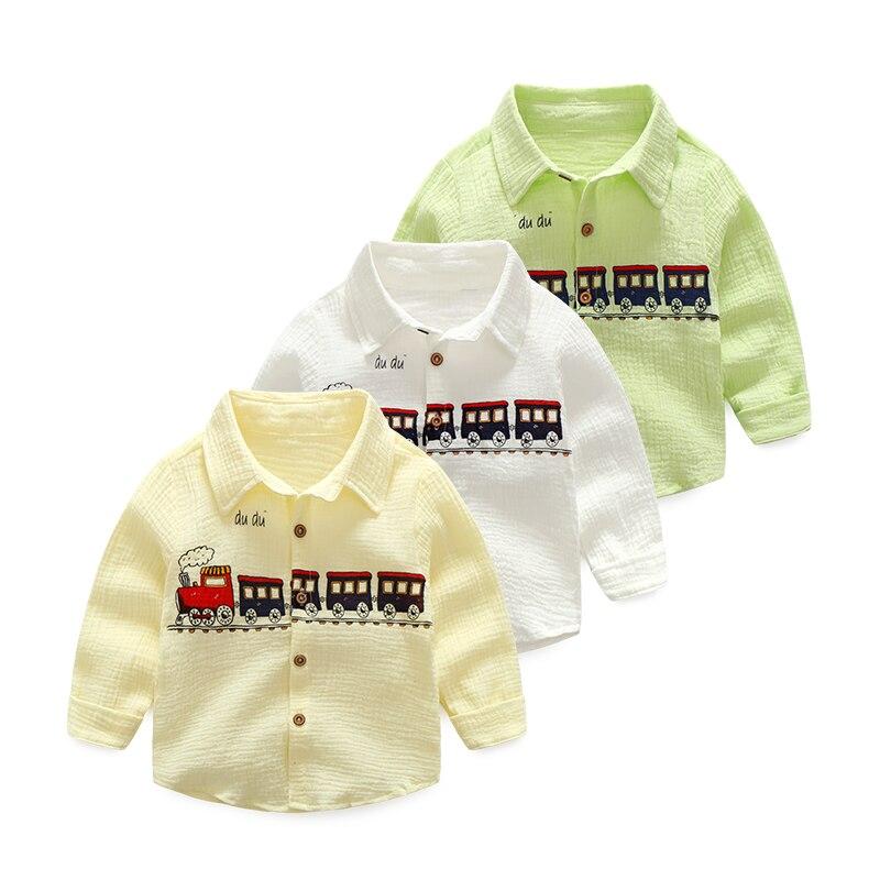 Chłopcy Koszule Spring Cotton Cartoon Train Pattern bluzka dla - Ubrania dziecięce - Zdjęcie 3