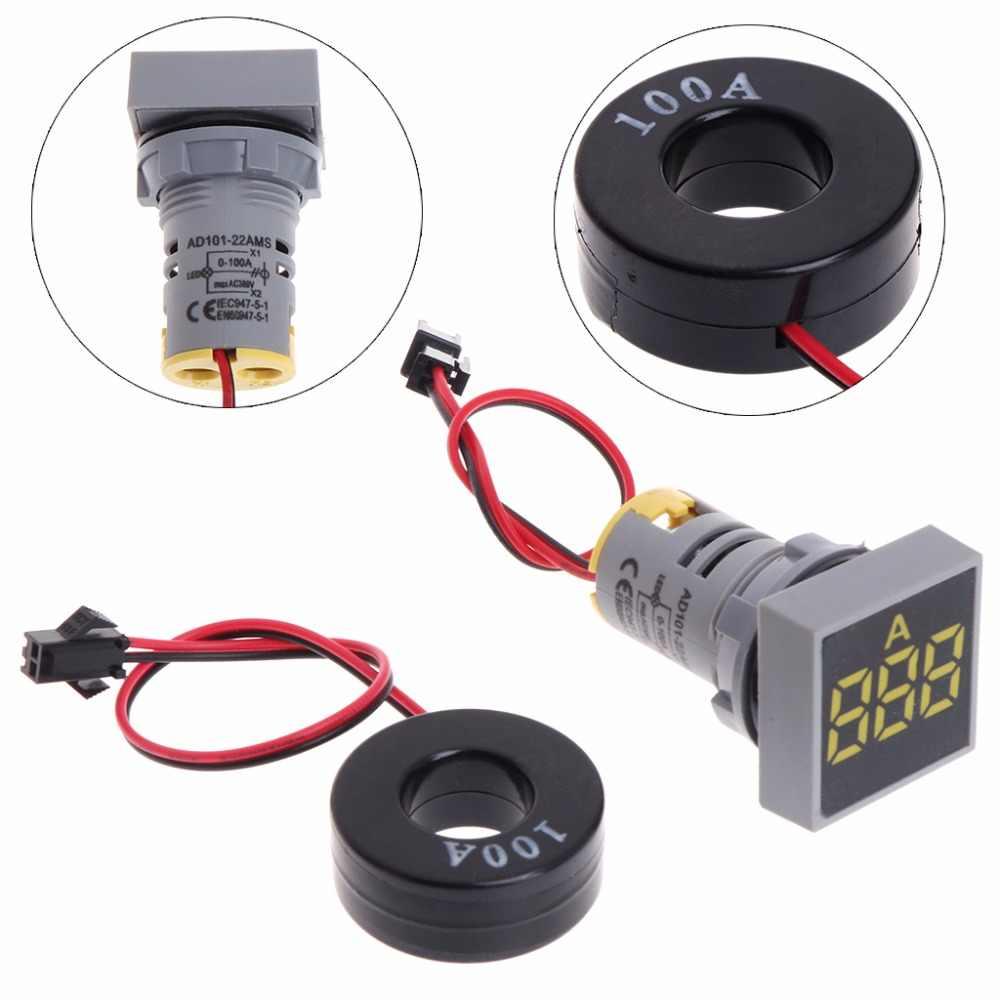 22mm AC 0-100A Digital Ammeter Current Transformer LED Lamp Test Detector New
