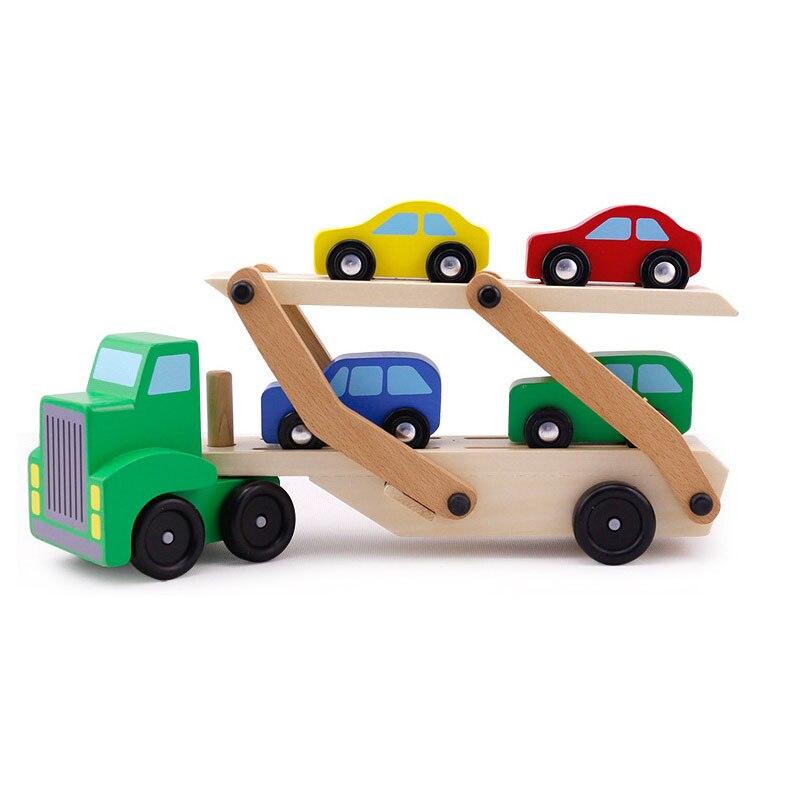 Holzspielzeug für kinder transport lkw zugmaschine spielzeug doppelschicht modell der klassische spielzeug kleines geschenk für die junge
