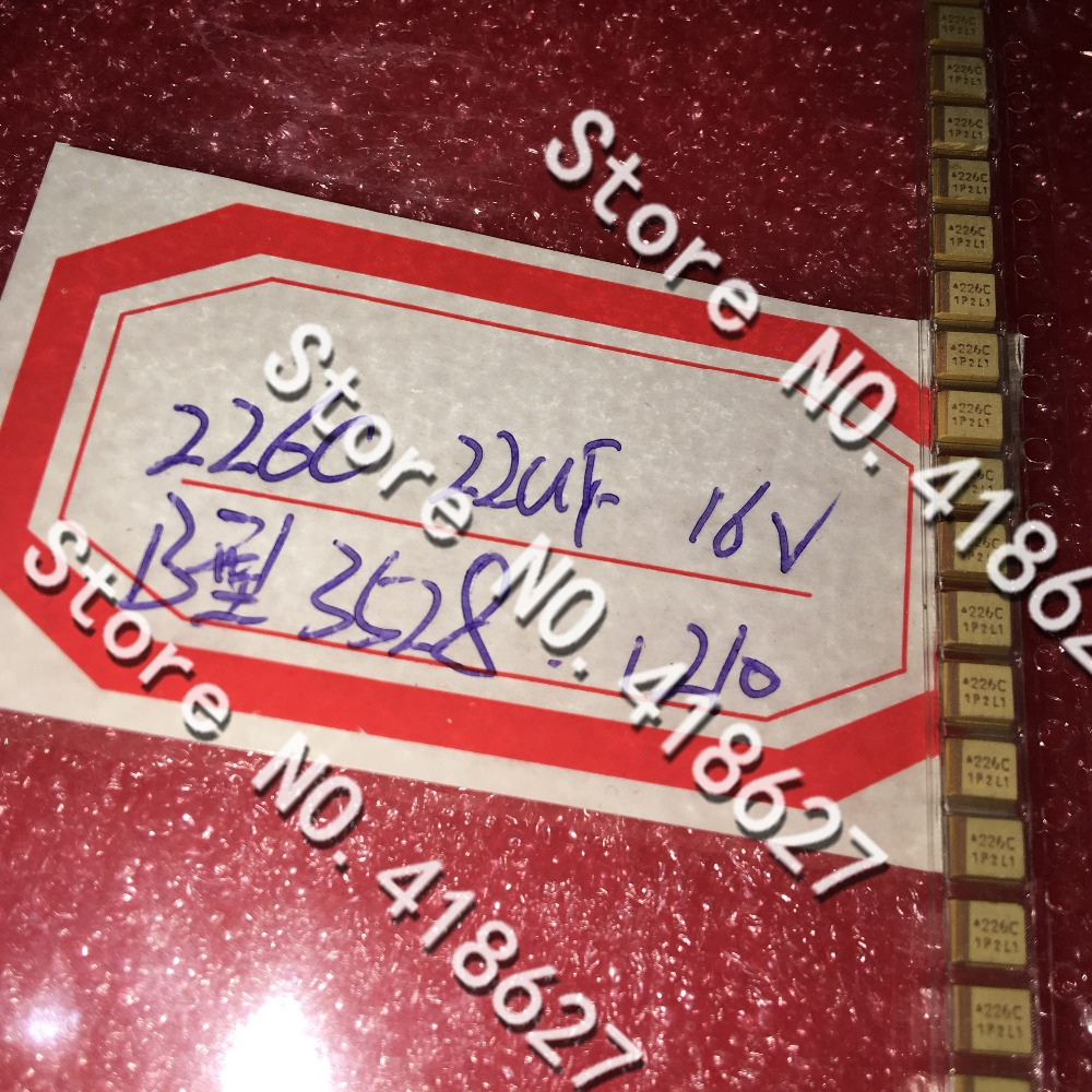 500PCS LOT SMD tantalum capacitor 226C 1210 22UF 16V B type 3528 tantalum capacitor yellow polarity