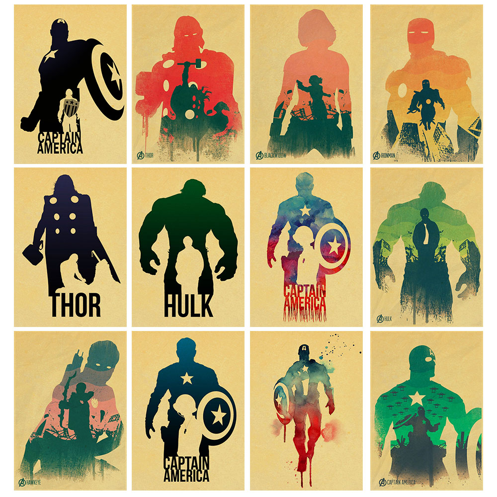 New Avengers Movie Vintage Kraft Posters Captain iron Man Hulk Bar ...