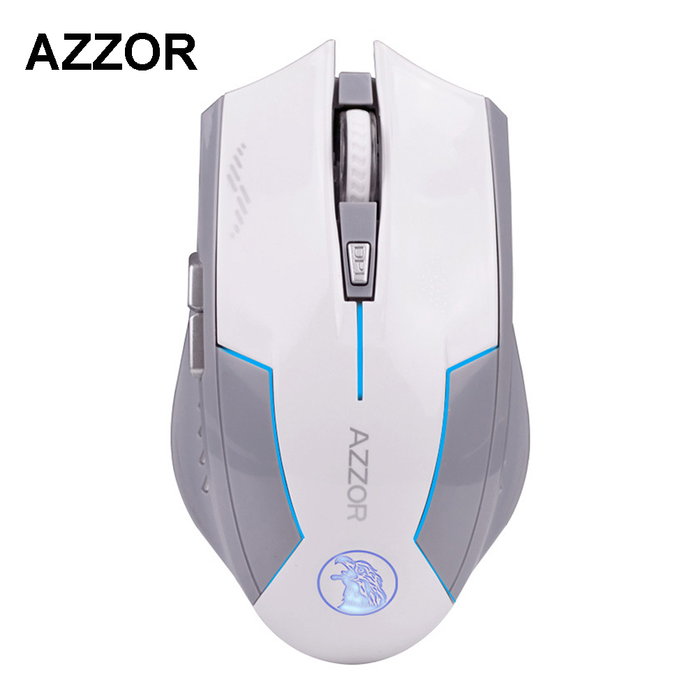 AZZOR Rechargeable Wireless Illuminate Computer Mouse Mice Laser Gaming 1600 DPI 2.4G FPS Gamer Silence Lithium Battery Build-in new dacom carkit mini bluetooth headset wireless earphone mic with usb car charger for iphone airpods android huawei smartphone
