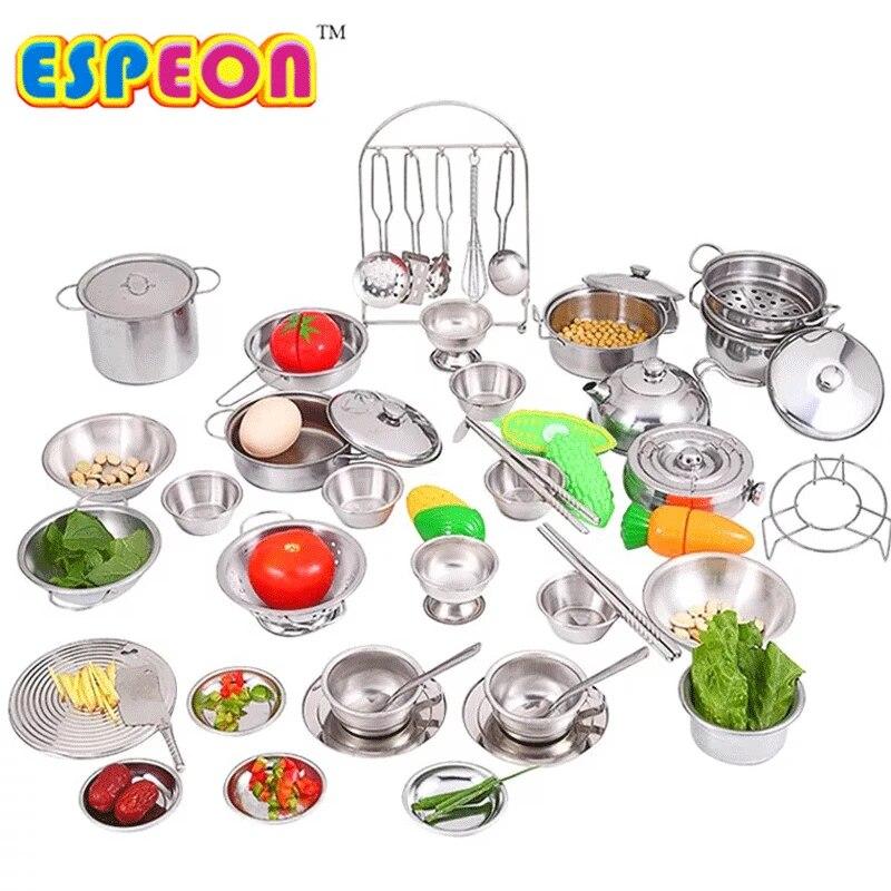 2020 40pcs Stainless Steel Kids House Kitchen Toy Cooking Cookware Children Pretend Play Kitchen Playset For Children Silver Kitchen Playset Toy Cookinghouse Kitchens Aliexpress