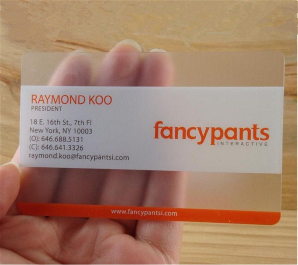 Free design Plastic transparent business card one faced printing ...