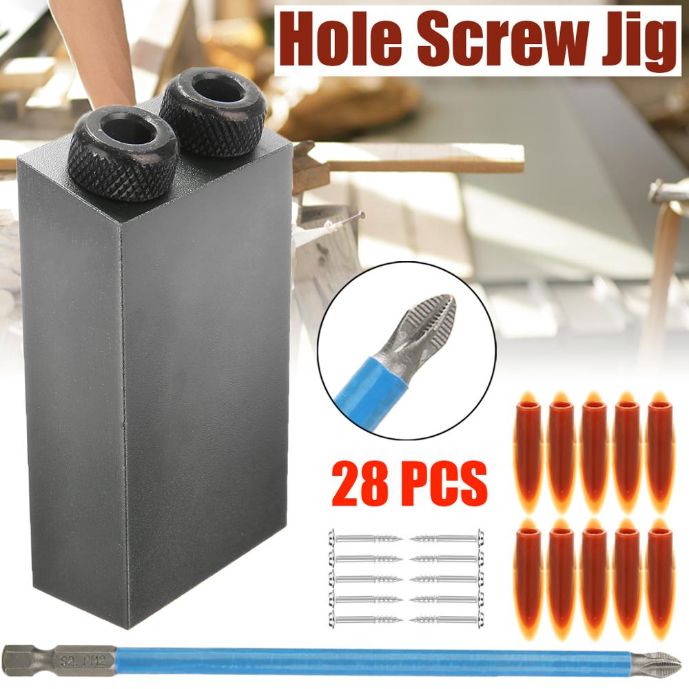 28pcs Aluminum Alloy Wood Pocket Hole Screw Jig with Dowel Drill Set Wood Joint Tool 15 Degree for Home Woodworking DIY28pcs Aluminum Alloy Wood Pocket Hole Screw Jig with Dowel Drill Set Wood Joint Tool 15 Degree for Home Woodworking DIY