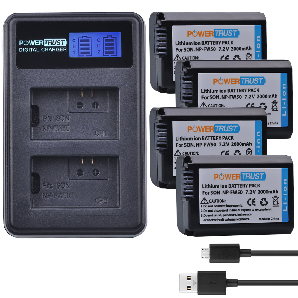 4Pcs NP-FW50 NP FW50 NPFW50 Batteries + LCD USB Dual Charger for Sony Alpha a6500 a6300 a7 7R a7R a7R II a7II NEX-3 NEX-3N NEX-5 np fw50 8000mah camera external power for sony nex 5r nex 7 a55 a7r a7m2 a6500 nex 6 smartphone external mobile power battery