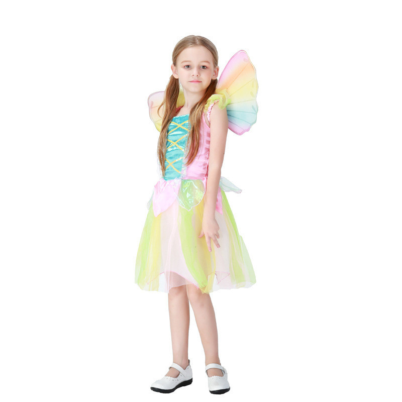 Beautiful Tinker Bell Costumes Girls Rainbow Butterfly Fairy Costume Kids  Tinkerbell Dress With Wings In Girls Costumes From Novelty U0026 Special  Use On ..