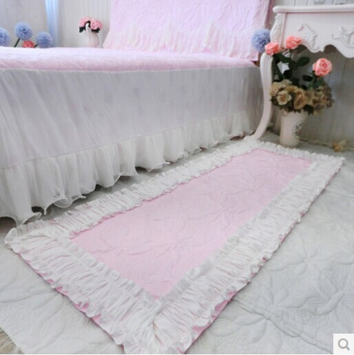 1piece Korean floor mat bedside carpet quilted quality wedding decoration princess ruffle mats bedroom accessories home textile