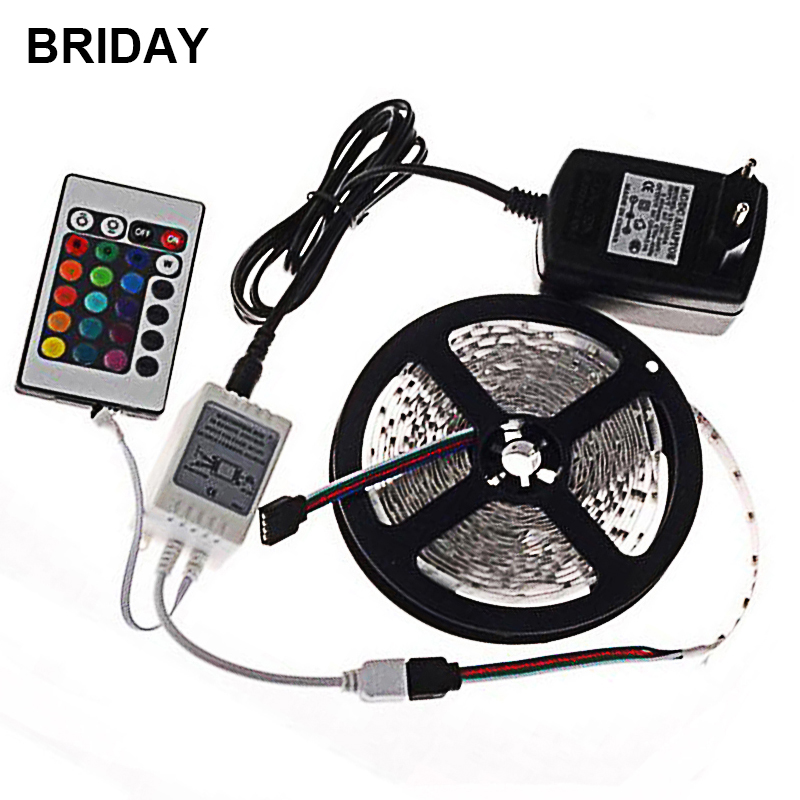 LED Strip Light 5M 300 LEDs Flexible LED Tape IP20 LED Neon Ribbon SMD 3528 IR Controller DC 12V 2A Power Adapter Home Light
