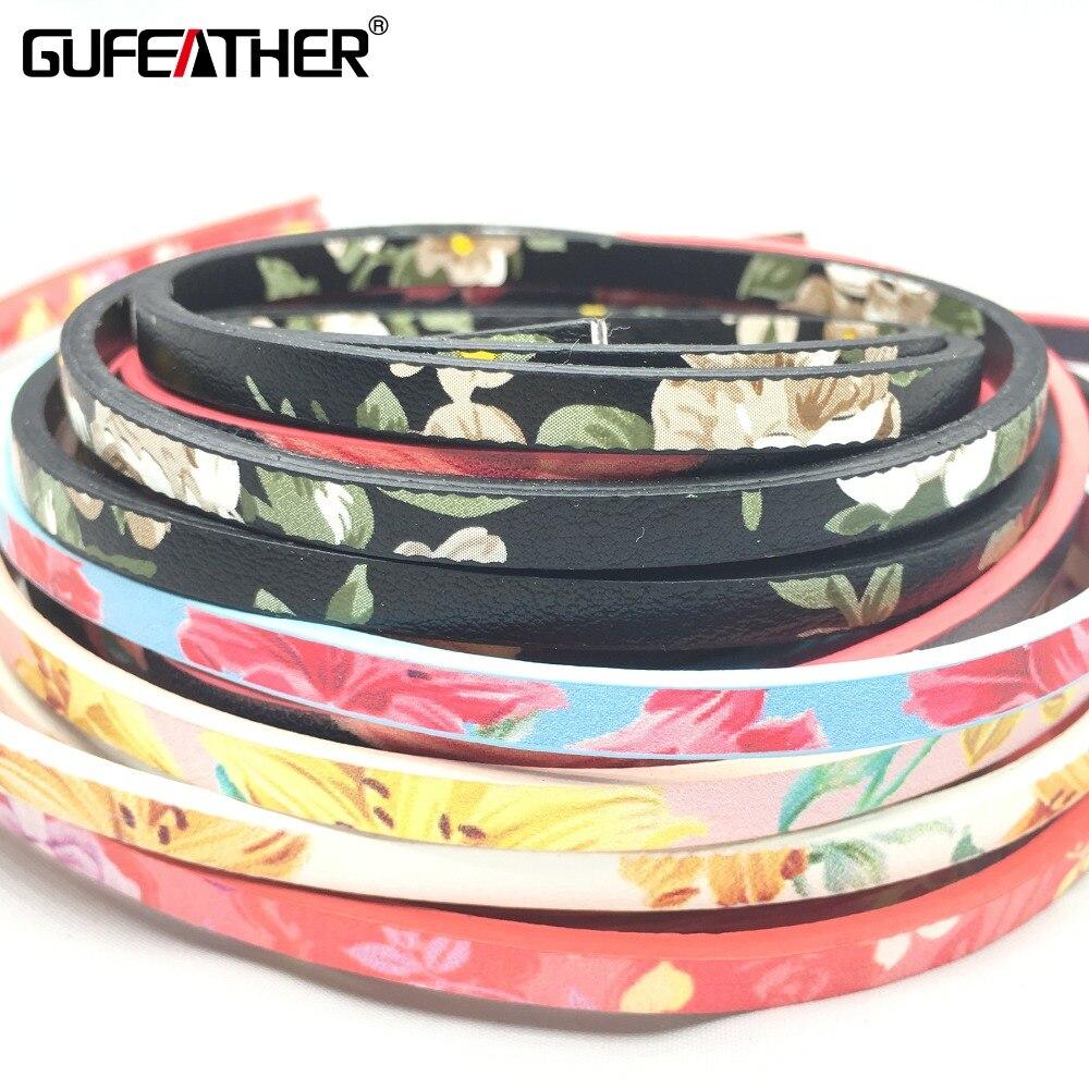 GUFEATHER 5 MM cordón de Cuero Flores/accesorios de la joyería/de la joyería diy