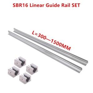 Image 2 - 2 adet SBR16 16mm lineer ray kılavuzu 300 400 500 600 1000 1200 1500 mm tam slayt desteği + 4 adet SBR16UU lineer rulman bloğu