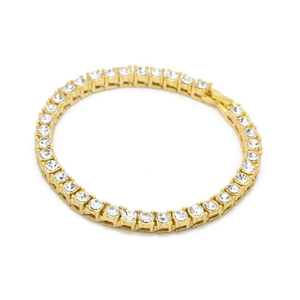Hip hop Bling Iced Out Cubic Zirconia Bracelet Tennis Chain Bracelets Women Men 1 Row CZ Link Chain Jewelry Gold Silver Black