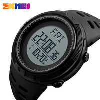 SKMEI Pedometer Sport Digital Watch Men Army Green Dual Time LED Electronic Wristwatch Distance Clorie Timekeeping