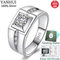Отправлен сертификат! Настоящее 925 пробы серебряные свадебные кольца для мужчин подарок ювелирные изделия 1 карат фианит обручальные кольц...