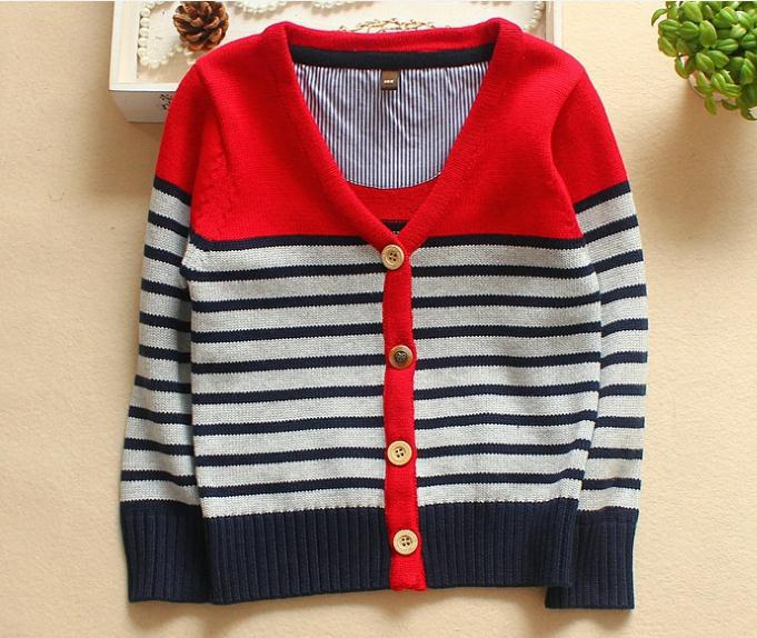 2015 New Baby Boy Sweater Cardigan Navy Blue Long Sleeve V Neck