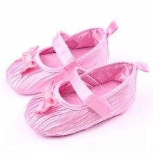 Модный дизайн анти-слип бабочка-узлов розовый белый черный мягкой подошвой девочку обувь детская танцевальная обувь детская обувь 0 — 18 м