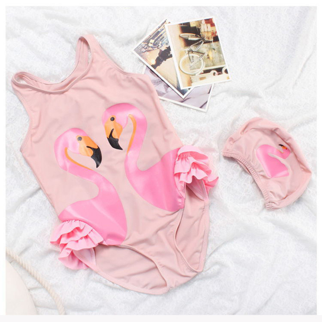 0edc0446e9 Girls Pink Flamingo Swimsuit With Cap Children White Swan Swimming Wear One  Piece Beach Wear Kids Bathing Suits