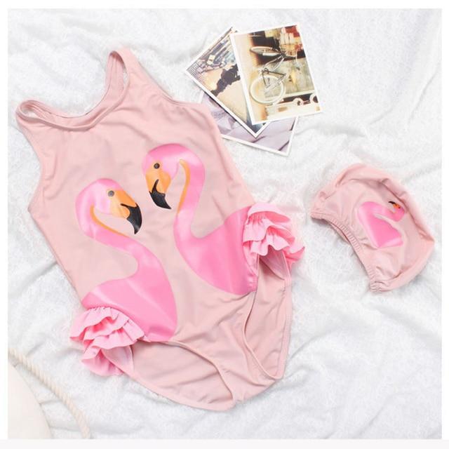 876c75b403b9 Girls Pink Flamingo Swimsuit With Cap Children White Swan Swimming Wear One  Piece Beach Wear Kids Bathing Suits