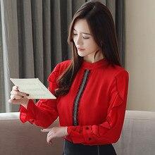 Half turtle neck Lace Blouse ruffle Womens Blouses Shirt 2019 fashion spring floral Chiffon Long Sleeve Shirts Ladies 852E