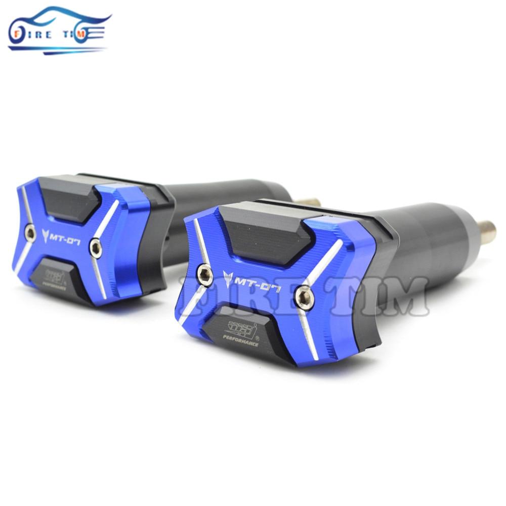 ФОТО Motorcycle Frame Sliders Crash Engine Guard Pad Aluminium Side Shield Protector For Yamaha  MT-07 MT07 FZ-07 FZ07 2014 2015 2016