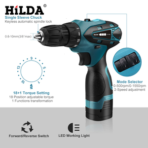 Image 2 - HILDA Electric Drill Cordless Screwdriver Lithium Battery  Mini Drill Cordless Screwdriver Power Tools Cordless Drill
