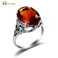 Victoria Wieck Princess Cut Brand Jewelry 925 Sterling Silver Created Amber Birthstone Wedding Bridal Women Rings