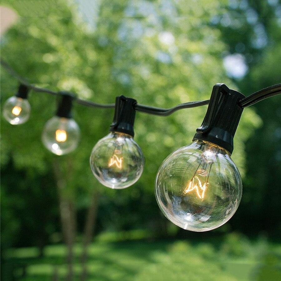 7.6M 25pcs G40 Led globe bulb led string lights Commercial Grade waterproof led ball string E12 filament bulbs for Garden