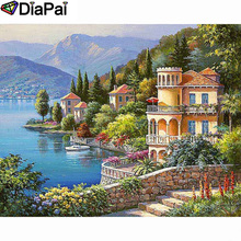 DIAPAI Diamond Painting 5D DIY 100% Full Square/Round Drill House flower boat Diamond Embroidery Cross Stitch 3D Decor A24449 diapai 100% full square round drill 5d diy diamond painting flower landscape diamond embroidery cross stitch 3d decor a21095