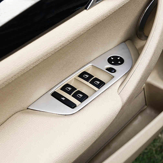 7411f7af74d For BMW X1 E84 Inner Accessories Trim Left Hand Drive Door Window Switch  Button Cover Frame Car styling 3D stickers 2010-2015