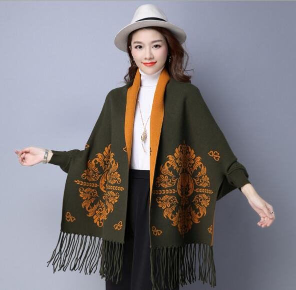 2018 new in double use women winter cashmere pashmina flower print with sleeve
