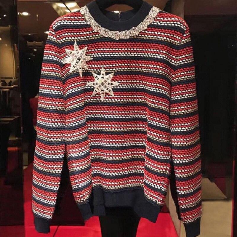 2018 jesień zima w stylu Vintage kobiety sweter z dzianiny sweter gwiazda hafty linkę z długim rękawem moda damska Jumper ubrania w Pulowery od Odzież damska na  Grupa 1