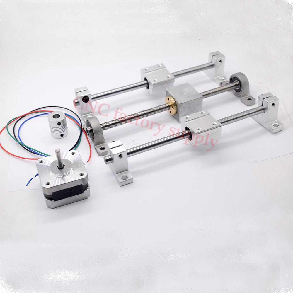 Prix pour 3D Imprimante guide rail ensembles T8 Plomb vis longueur 500mm + linéaire arbre 8*500mm + KP08 SK8 SC8UU + écrou logement + couplage + moteur pas à pas