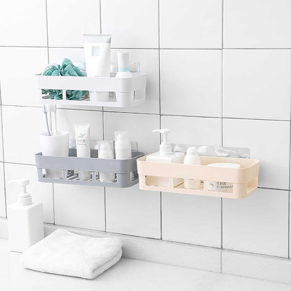 Bathroom Rack Adhesive Toilet Shelf Kitchen Bathroom Storage Sundries Hanger Shower Caddy Organizer Holder Tray Accessories