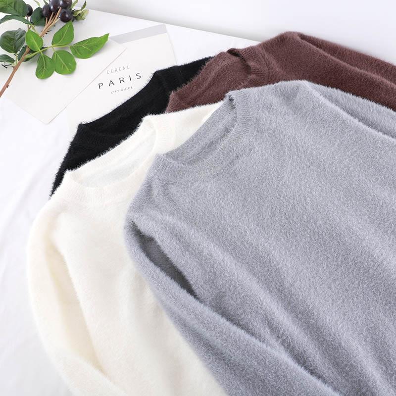 Alta Black Delle Di 2018 Donne Coreano Maglione white Lunghe Cotone O Bianco Inverno Maniche Qualità Modo gray Autunno coffee Nero Pullover Kint A Collo Casual Tw1nPOq