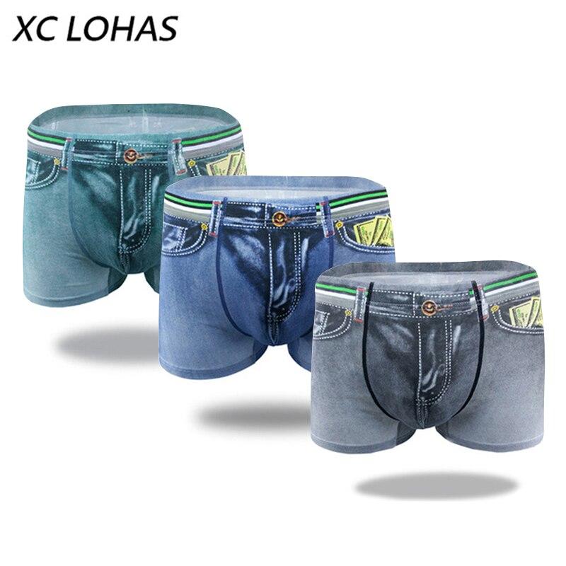 Men Denim 3D Jeans Print Cotton Boxer Briefs Underwear Underpants Boxer Shorts