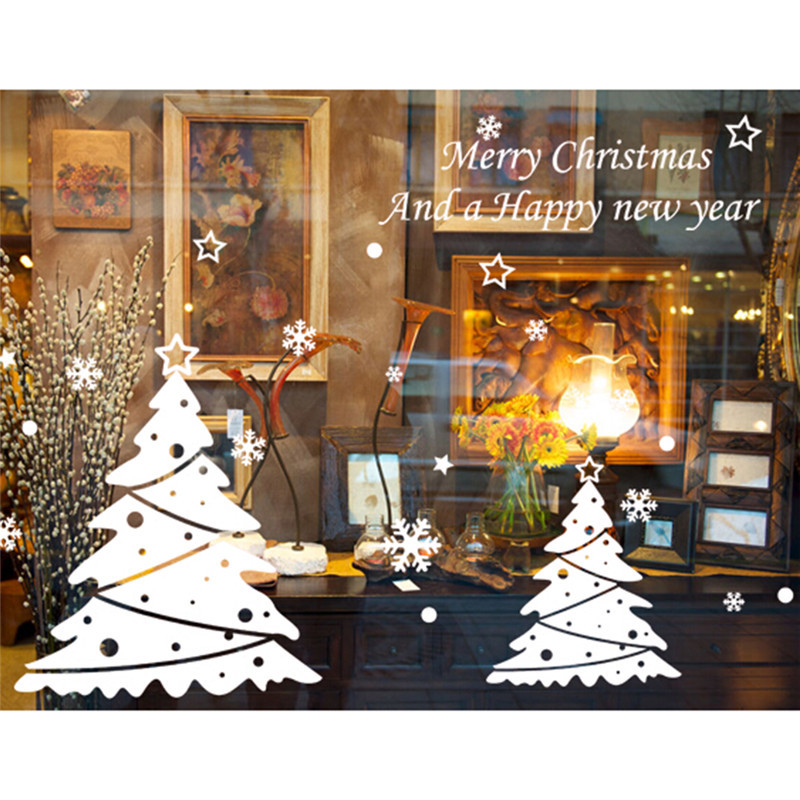 Christmas White Tree  Christmas New Year Shop Window  Wall Sticker Christmas Decorations Party Festival Wall Sticker Wholesale