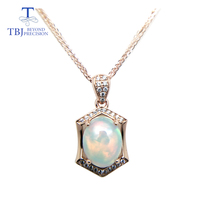 TBJ ,Natural ethopian opal oval cut 8*10 pendants with chain in 925 sterling silver gemstone necklace with gift box