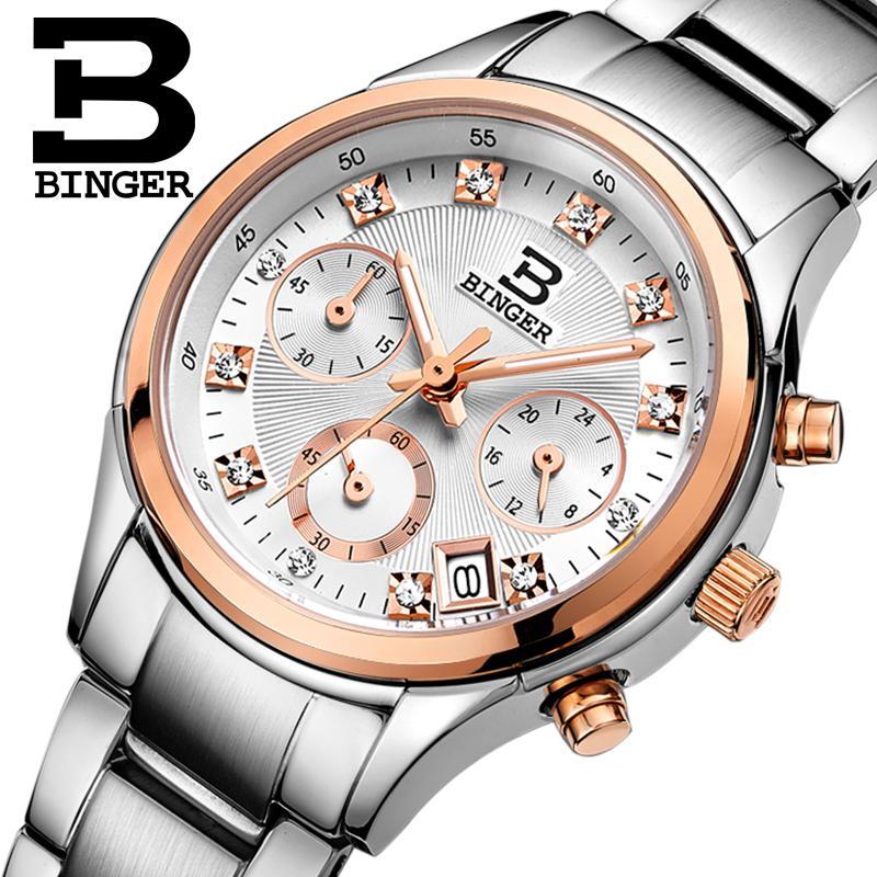 Switzerland Binger Womens watches luxury quartz waterproof clock  full stainless steel Chronograph Female Wristwatches BG6019  W2wristwatch waterproofwristwatch womenwristwatch stainless steel -
