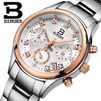 Switzerland Binger Women's watches luxury quartz waterproof clock full stainless steel Chronograph Female Wristwatches BG6019-W2